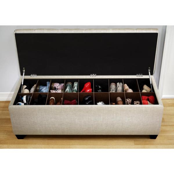cushioned ottoman used as shoe storage