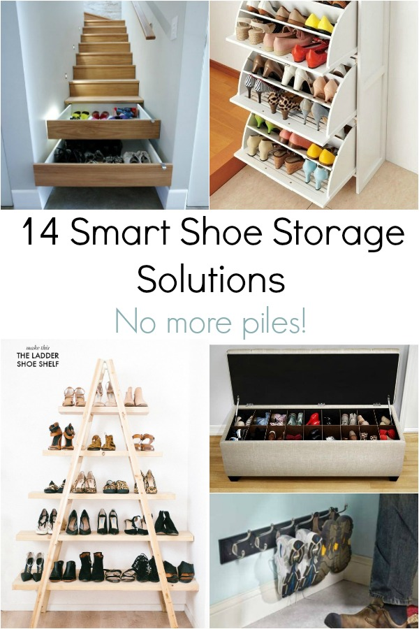 shoe storage solutions collage
