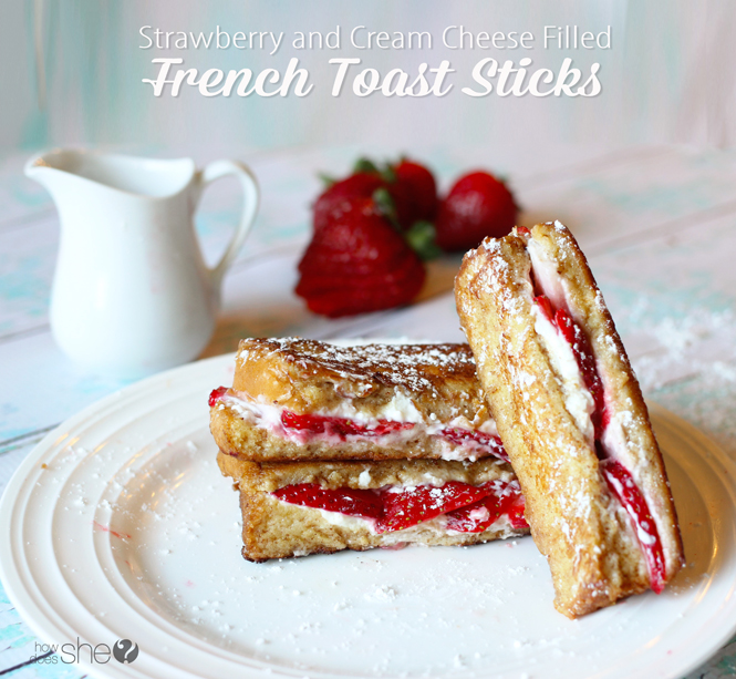 strawberry and cream cheese filled french toast sticks