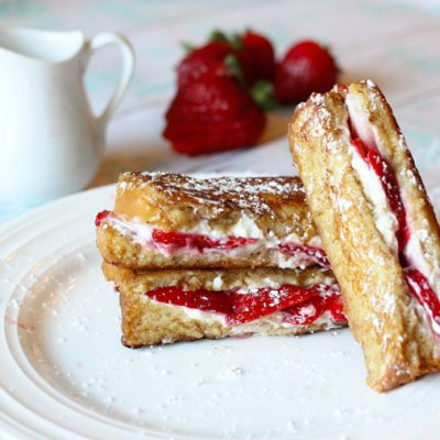 Strawberry and Cream Cheese Filled French Toast Sticks!