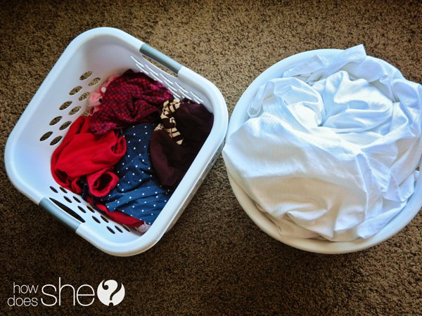laundry baskets with laundry