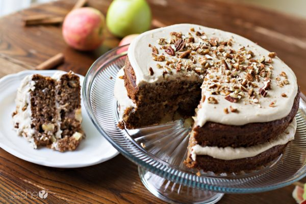 Apple spice cake with brown sugar frosting (7)