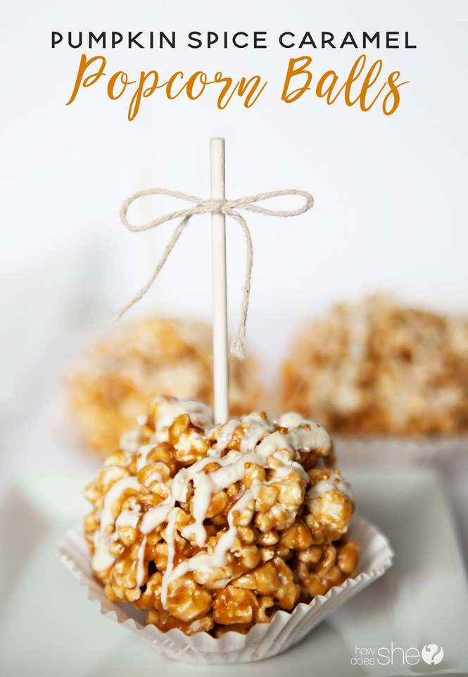 Pumpkin Spice Caramel Popcorn Balls with White Chocolate Drizzle ...