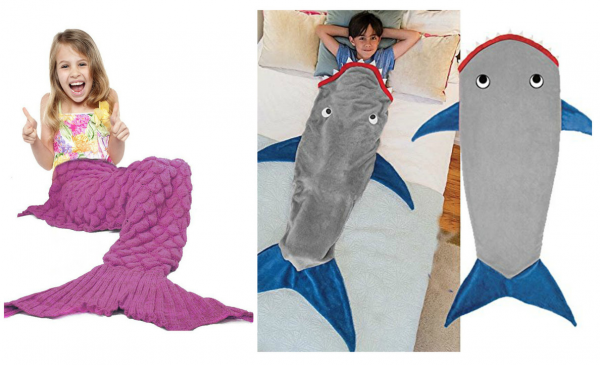 shark and mermaid tail blankets