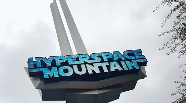 Hyperspace Mountain sign at Disneyland in 2017