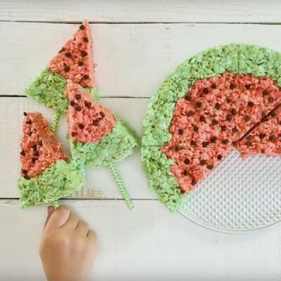 Watermelon Rice Crispy Treats – Perfect for Summer!