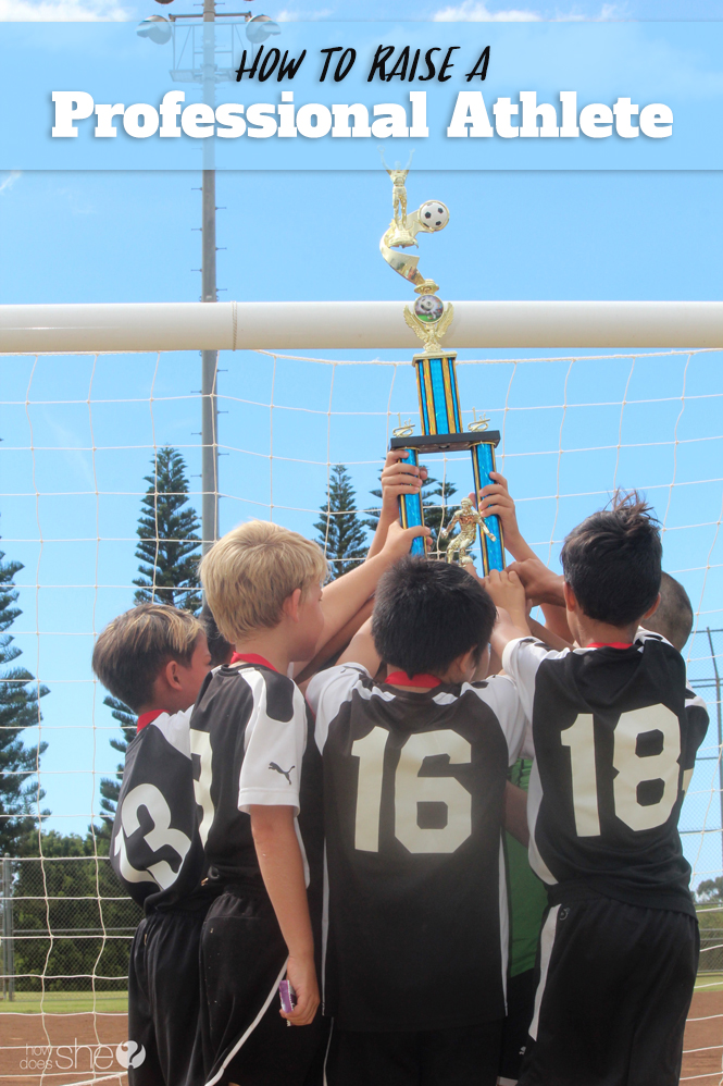 A soccer team celebrating together | How to raise a professional athlete