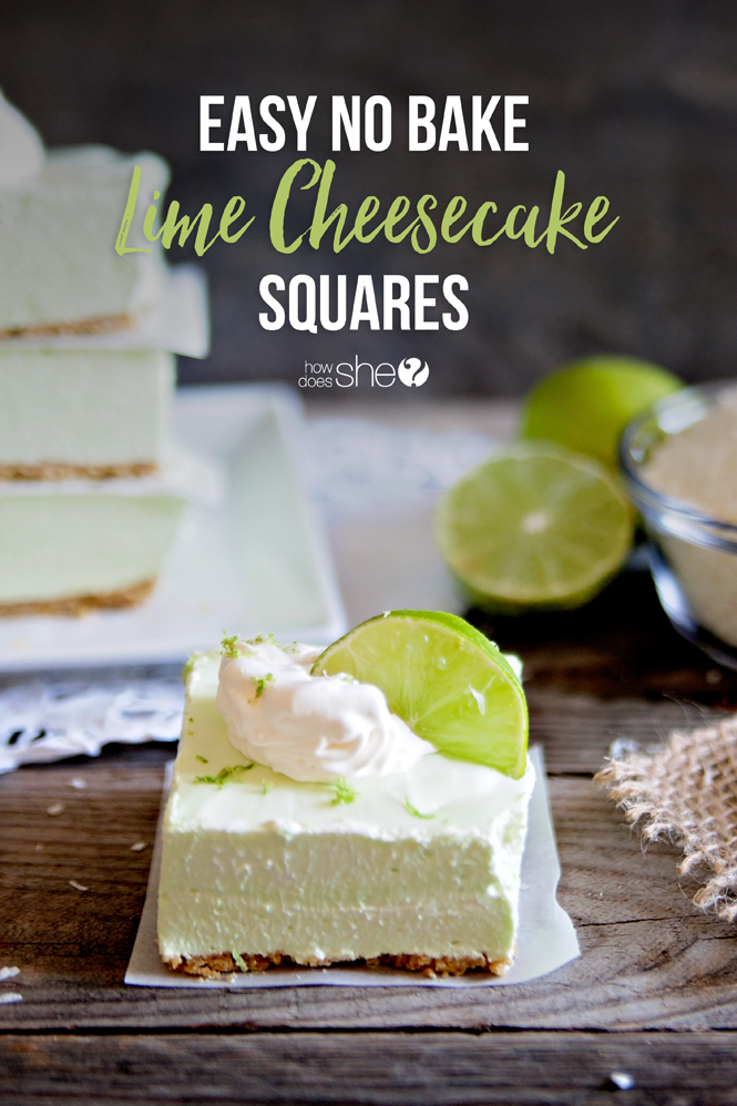 Easy No Bake Lime Cheesecake Squares
