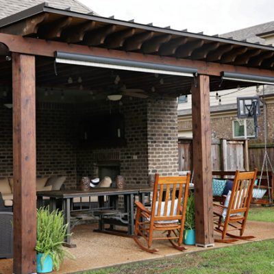 How To Re-stain a Back Patio Covering and Porch Swing in 1-Day