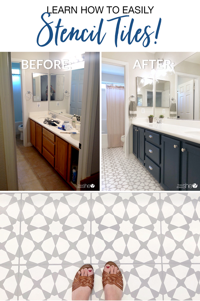 Learn How To Easily Stencil Floor Tiles!   How Does She