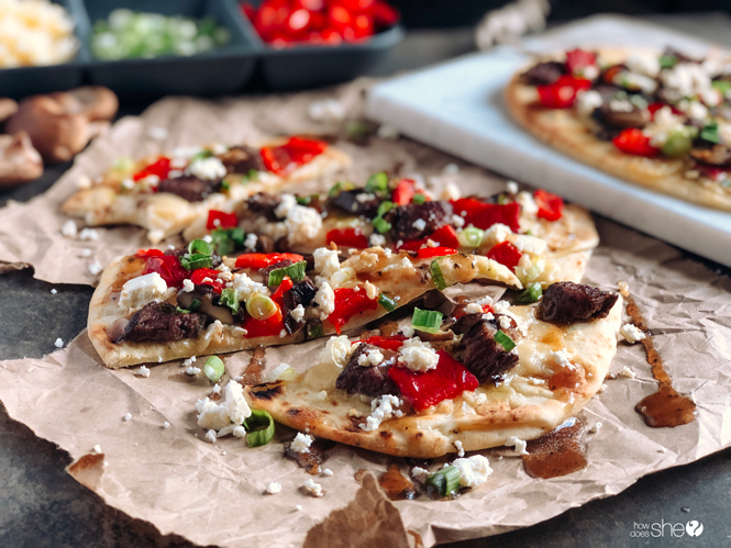 Amazing Steak and Roasted Red Pepper Flatbread