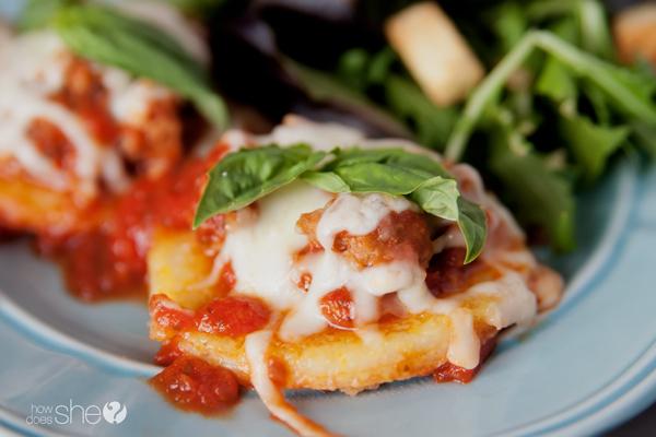Quick Fried Polenta with Sausage Marinara Recipe – Dinner in under 15 minutes!