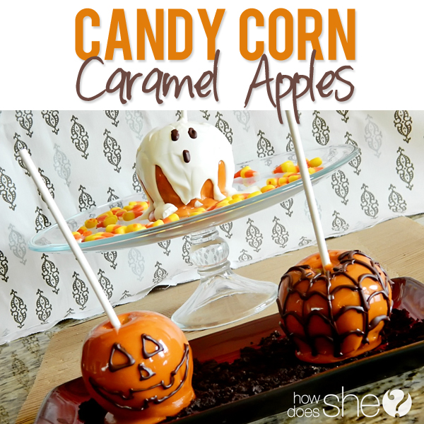 Candy corn caramel apples