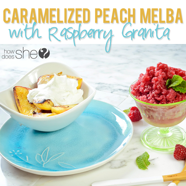 Caramelized Peach Melba with Raspberry Granita