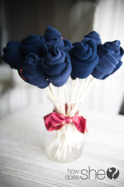 Make a sock bouquet