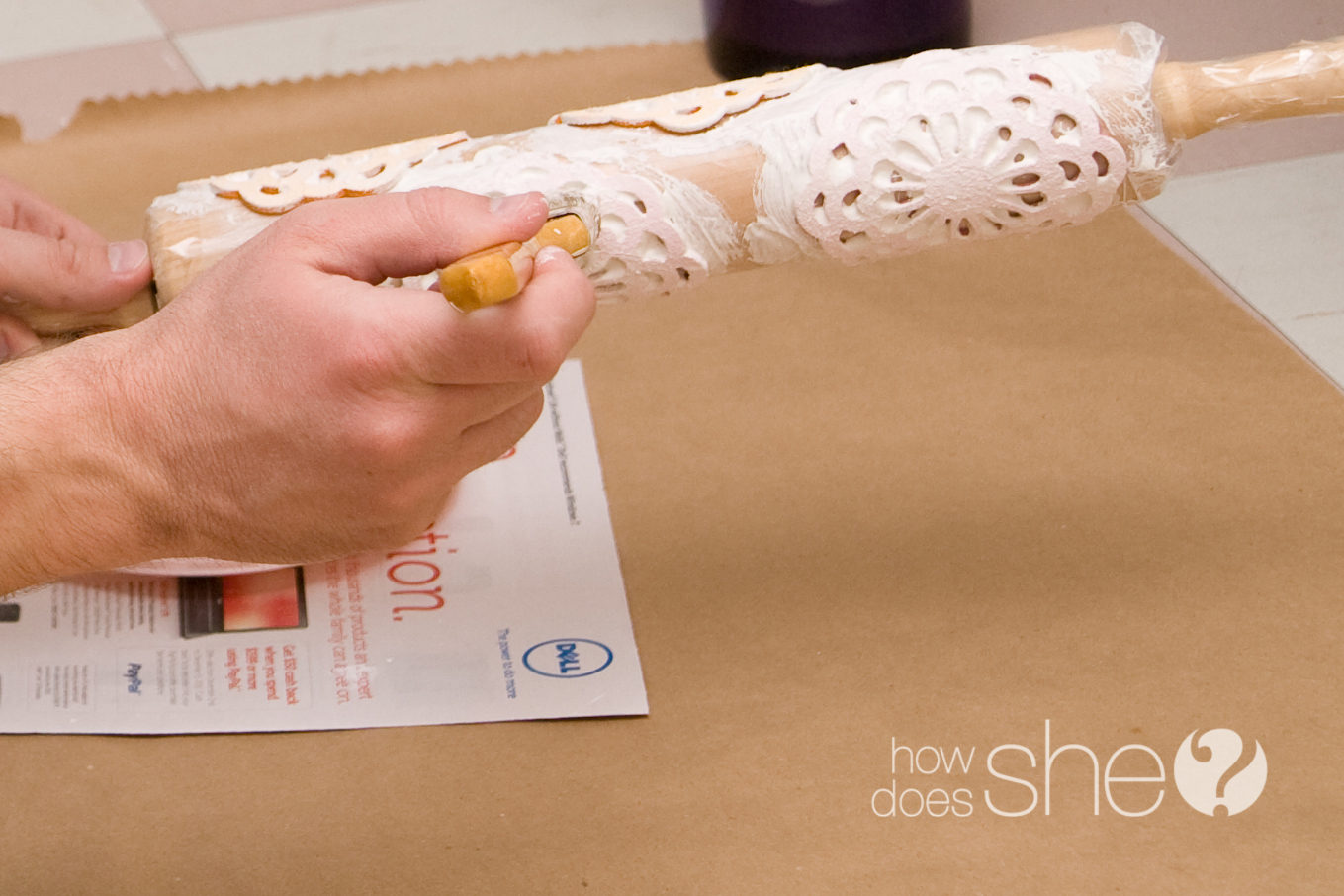 Homemade Rolling Stamp Wrapping Paper