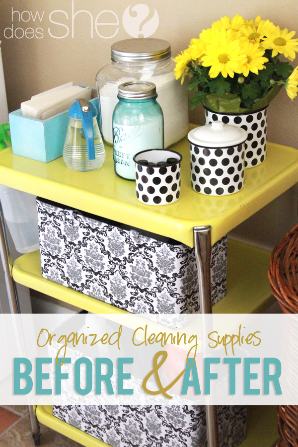 Organized cleaning supplies before and after