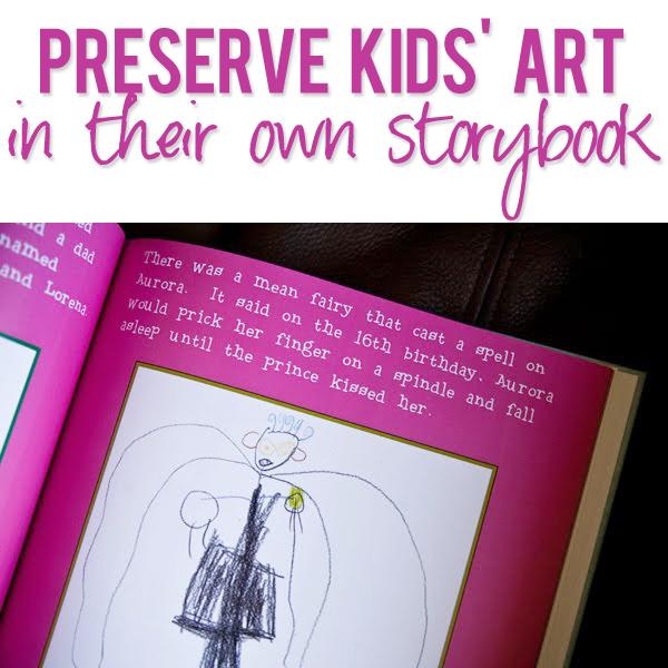 Preserve kids art in their own storybook