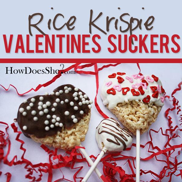 Rice Krispy Valentines Suckers