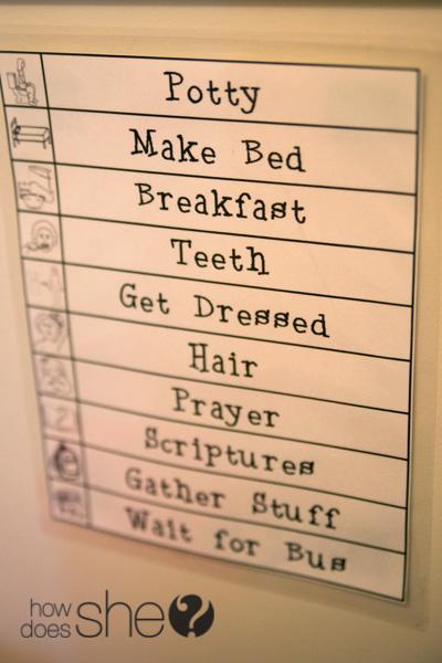 Morning Routine Organization