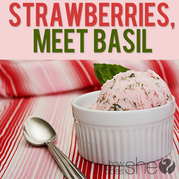 strawberry and basil ice cream