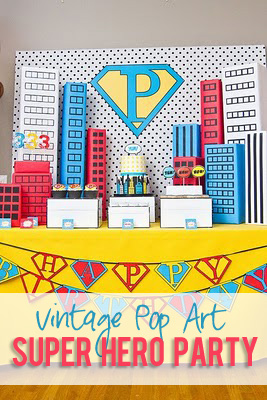 Vintage Pop art Super Hero Birthday Party