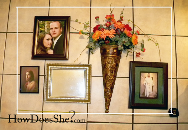 photo or pictures and flower decor on the floor