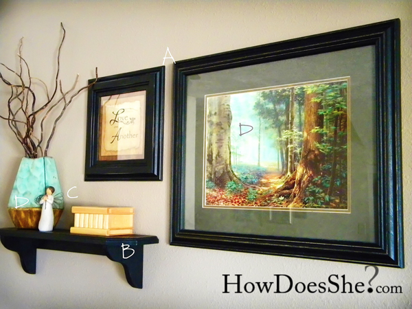 wall arrangement using art pieces, knickknacks on a shelf