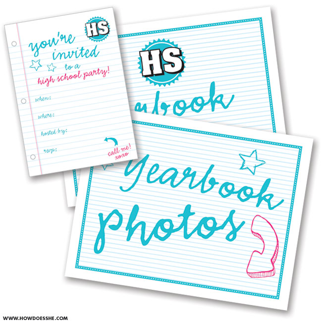 FREE printables for a high school flashback party - HowDoesShe.com