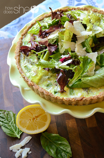 When you are ready to serve, layer a triangle piece of spring quiche ...