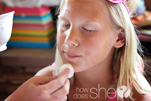 tween girl getting a facial