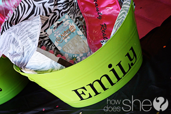 bucket full of pampering products for tween pamper party