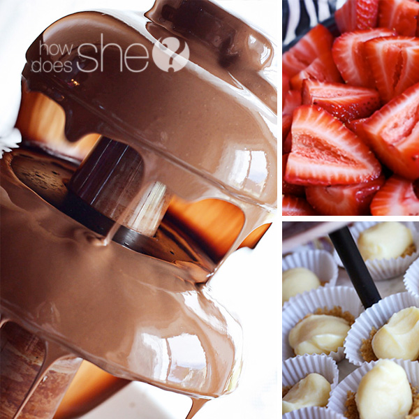 chocolate fountain, strawberries and mini cheesecakes in a collage